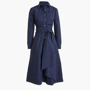 Tie-Waist Shirtdress Cotton Poplin Navy Blue (10)